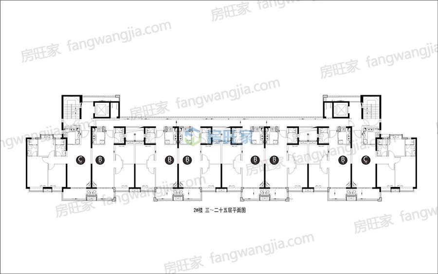 融创美伦熙语二期2#楼 三~二十五层平面图