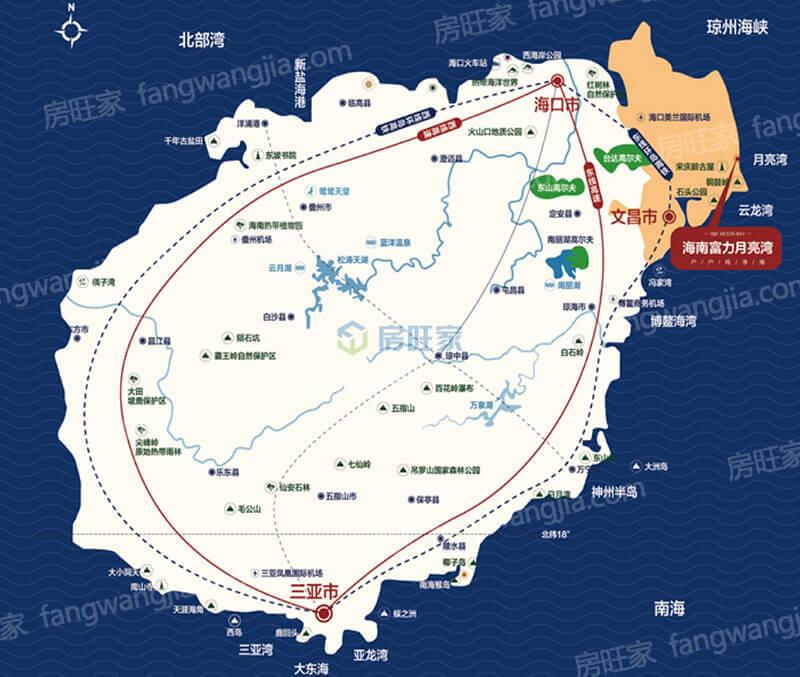 文昌及富力月亮湾区位图