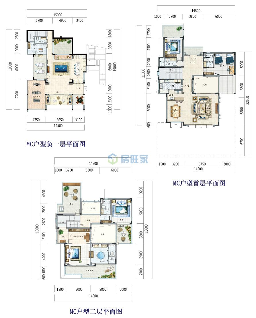 富力月亮湾别墅MC户型 五房 建面292平