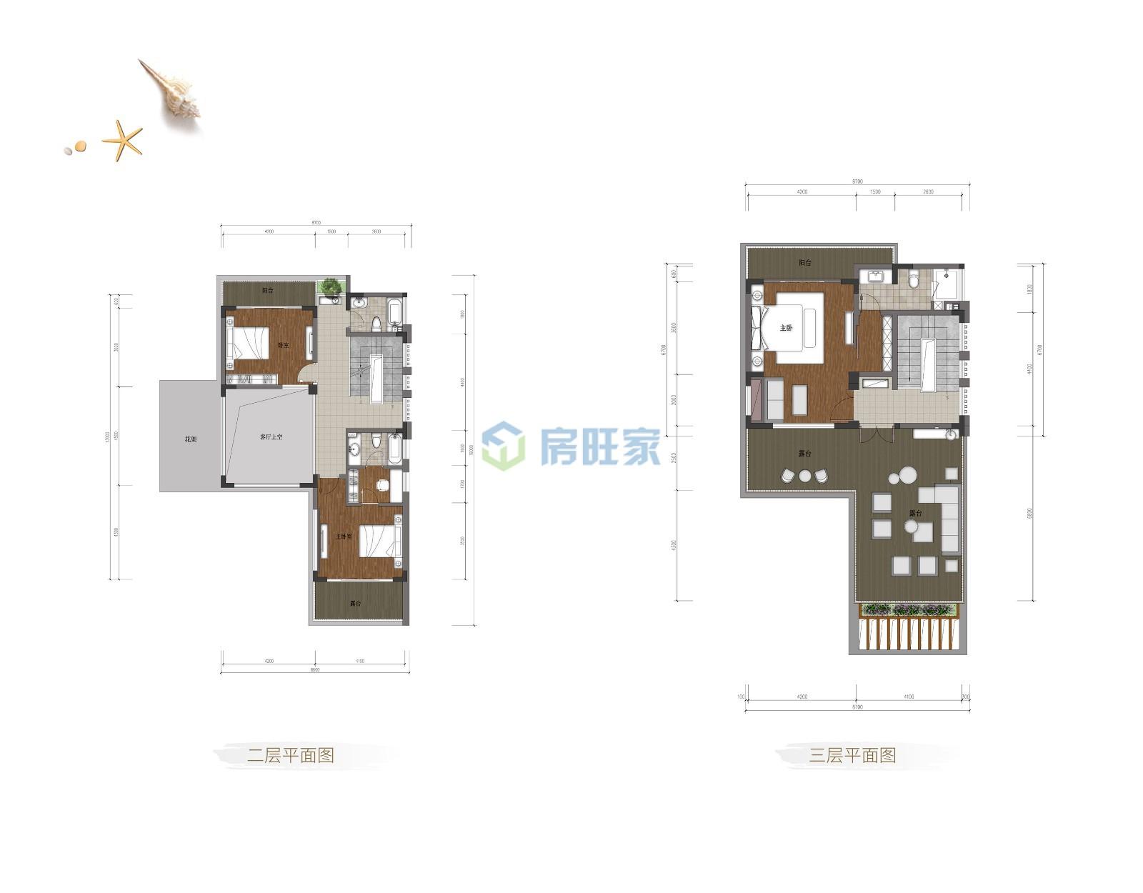 国安海岸别墅B户型二层三层 建面160平