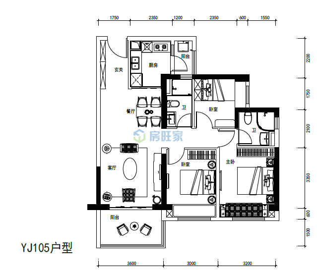 碧桂园中央半岛爱琴海YJ105户型建面105平户型