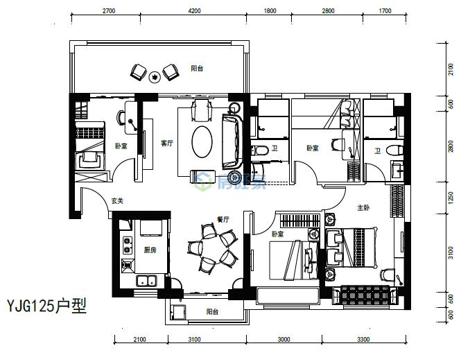 碧桂园中央半岛爱琴海YJG125户型建面131平户型