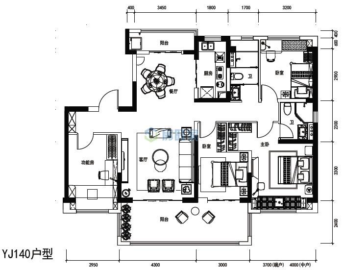 碧桂园中央半岛天爱琴海YJ140户型建面142平户型