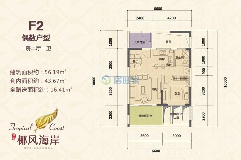 博鳌椰风海岸楼 一房户型 建面56.19㎡(偶数)