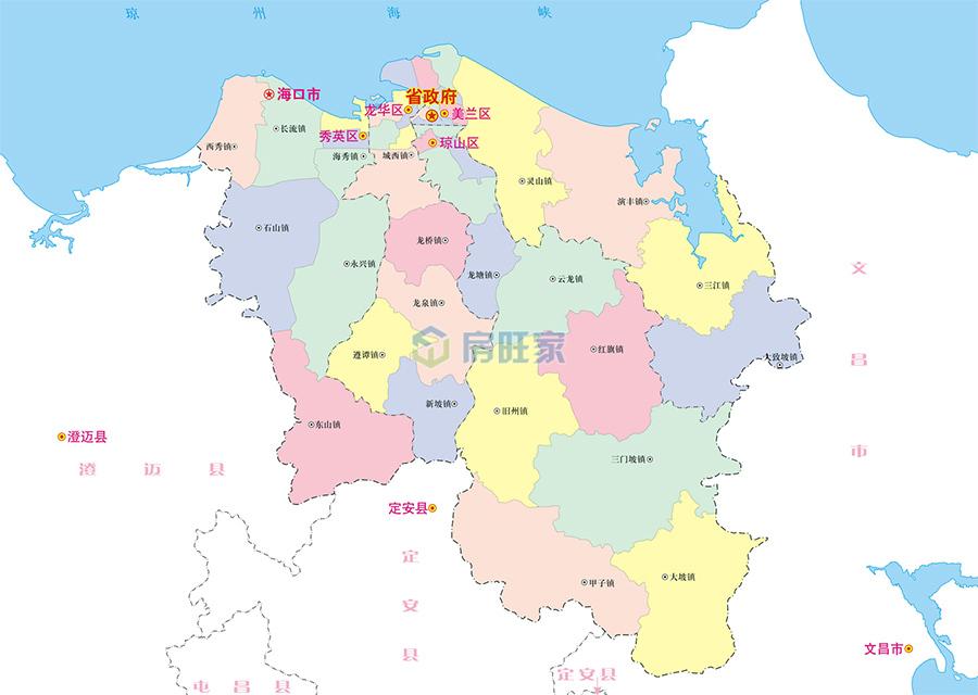 海南省海口市地理区位图