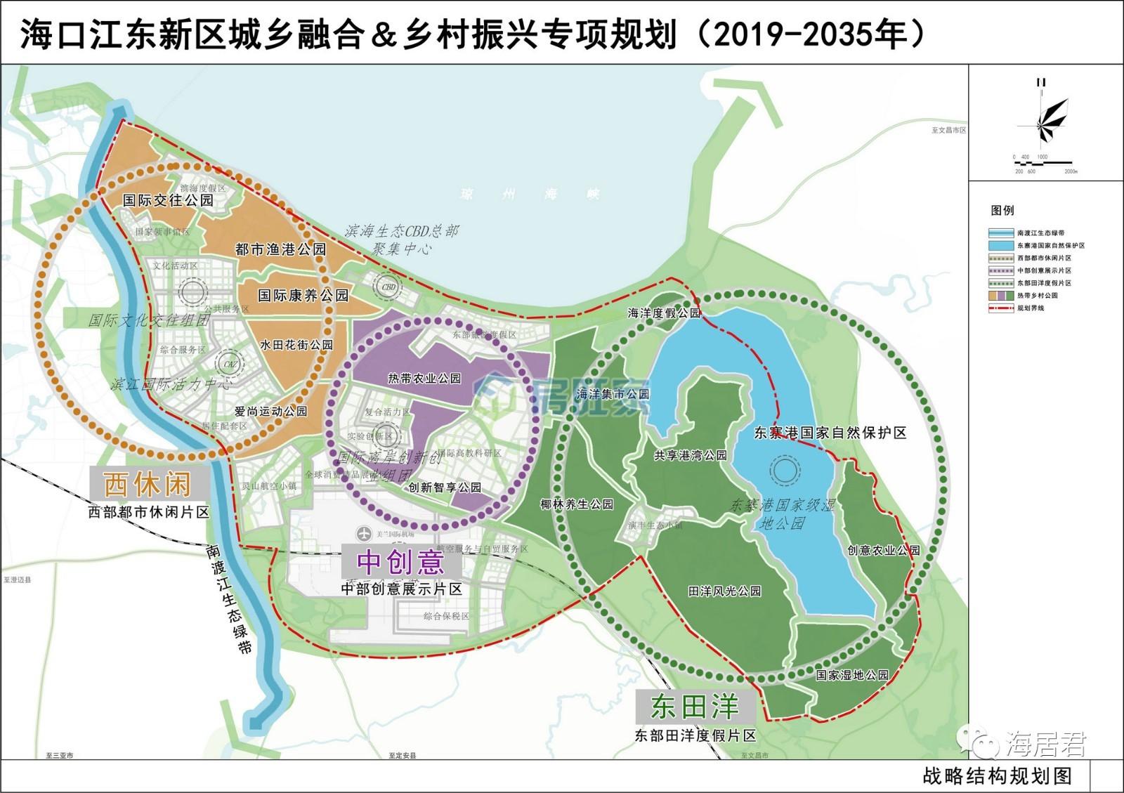 海口江东新区城乡融合&乡村振兴专项规划战略结构规划图