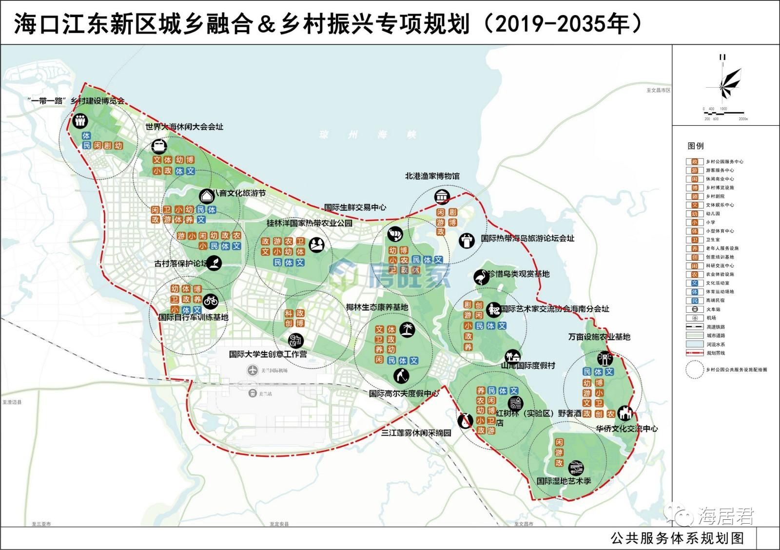 海口江东新区城乡融合&乡村振兴专项规划公共服务体系规划图