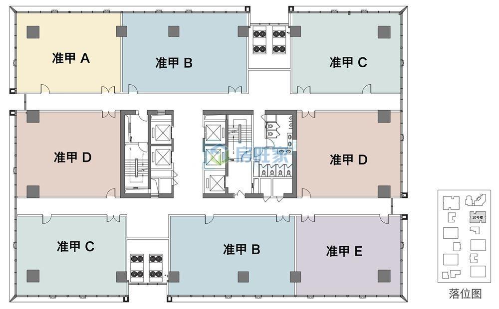 绿地领海广场准甲办公平层图:建筑面积约167-199㎡