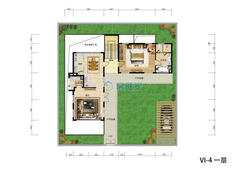 金泰南燕湾别墅VI-4户型 一层平面图