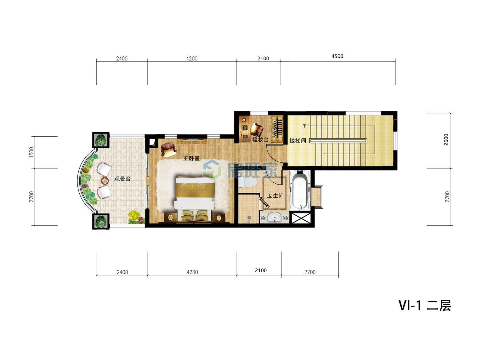 金泰南燕湾别墅VI-I户型 二层平面图