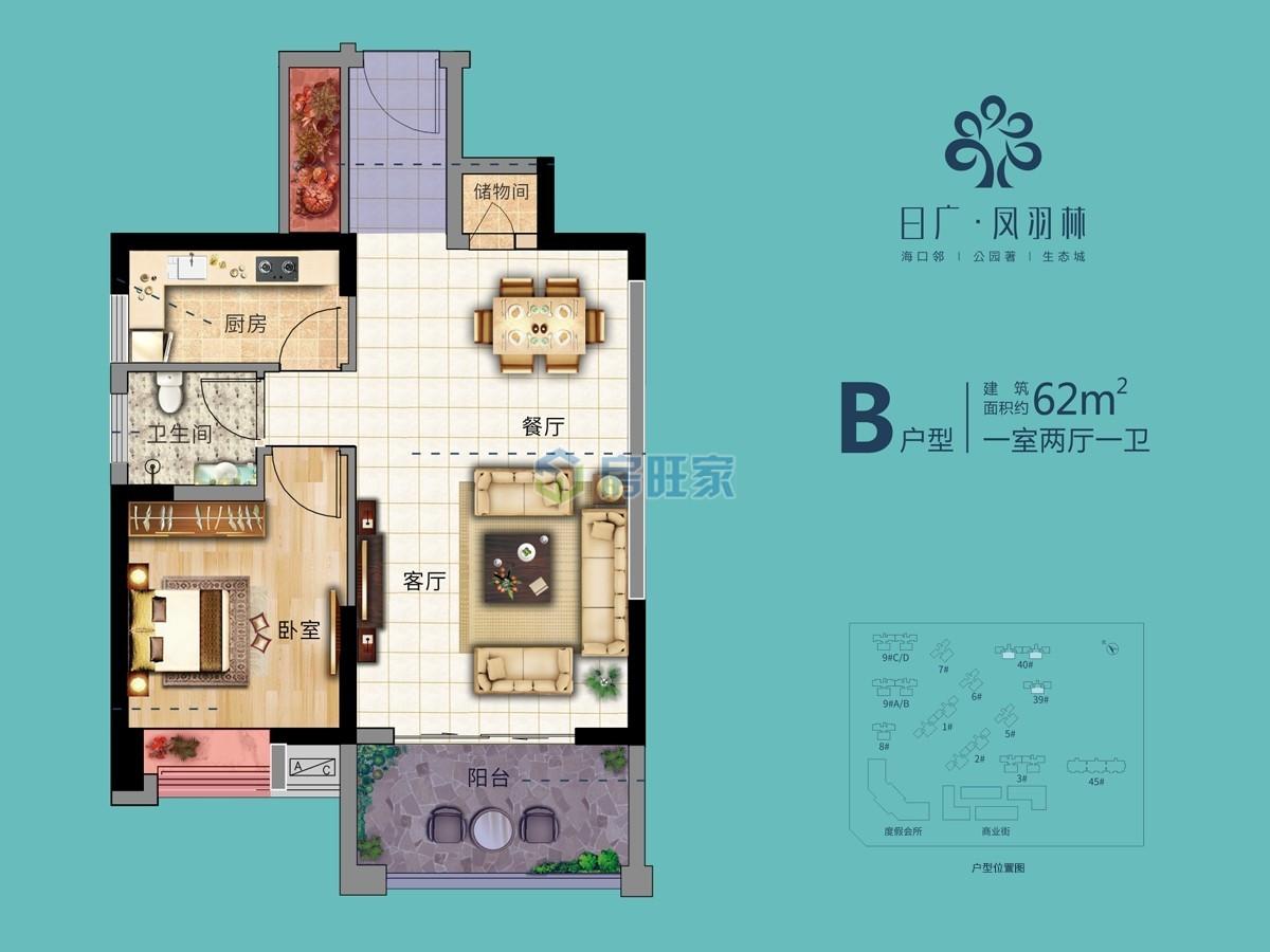 日广凤羽林温泉  一房户型 建面62㎡