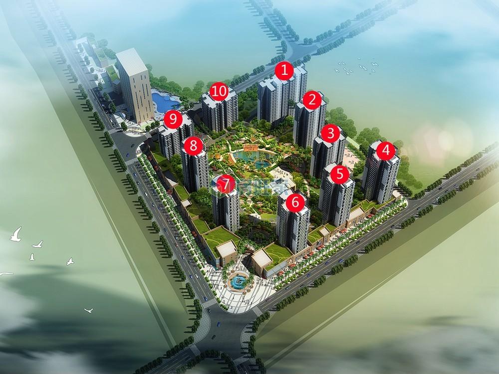 双杰蓝海国际楼栋鸟瞰效果图