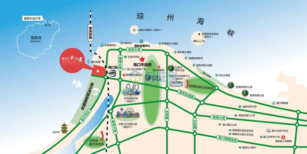 雅居乐金沙湾交通区位图