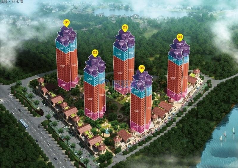 福隆丽水湾三期楼栋鸟瞰图