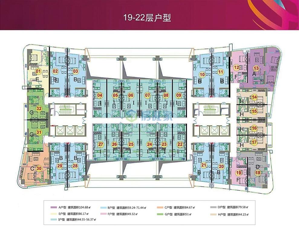 望海国际精装公寓19-22层户型
